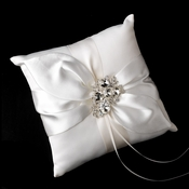 Ring Pillow 17 with Silver Clear Princess & Pear Crystal Brooch 84