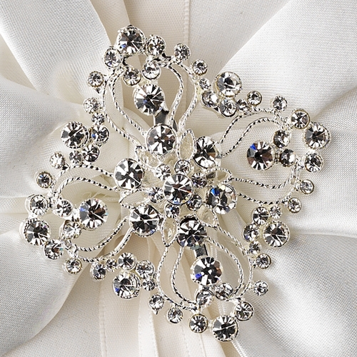Ring Pillow 17 with Silver Clear Vintage Diamond Shape Brooch 3234