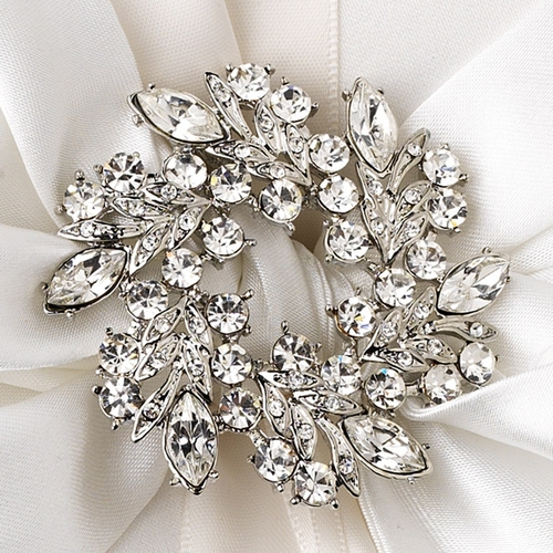 Ring Pillow 17 with Wreath Rhinestones Brooch 19