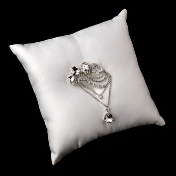 Ring Pillow 9 with Antique Silver Clear Pear Crystal Brooch 45