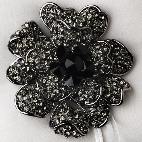 Ring Pillow 9 with Crystal & Rhinestone Floral Brooch 8779
