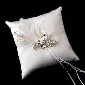 Ring Pillow 9 with Silver Clear Crystal & Feather Brooch 42