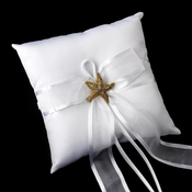 Ring Pillow 90 with AB Crystal Beach Starfish Brooch 88