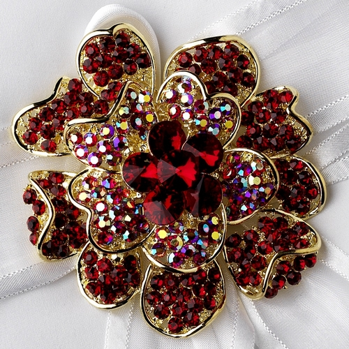 Ring Pillow 90 with Crystal & Rhinestone Floral Brooch 8779