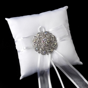 Ring Pillow 90 with Silver Clear AB Swirl Rhinestone Brooch 79
