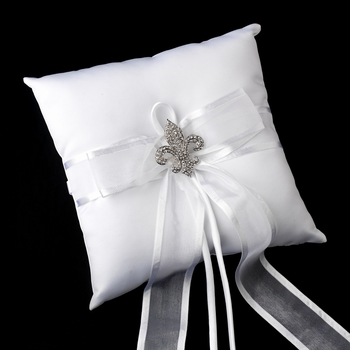 Ring Pillow 90 with Silver Clear Fleur De Lis Crystal Brooch 80