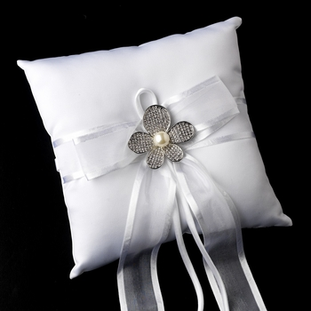 Ring Pillow 90 with Silver Ivory Pearl & Rhinestone Flower Brooch 66