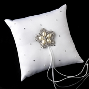 Ring Pillow 92 with Antique Silver Floral Star Pearl Brooch 117