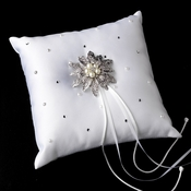 Ring Pillow 92 with Antique Silver Vintage Floral Crystal & Pearl Brooch 38
