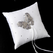 Ring Pillow 92 with Silver Clear AB Marquise Crystal Butterfly Brooch 7444***Discontinued***