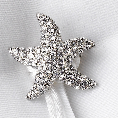 Ring Pillow 92 with Silver Clear Beach Starfish Brooch 3168