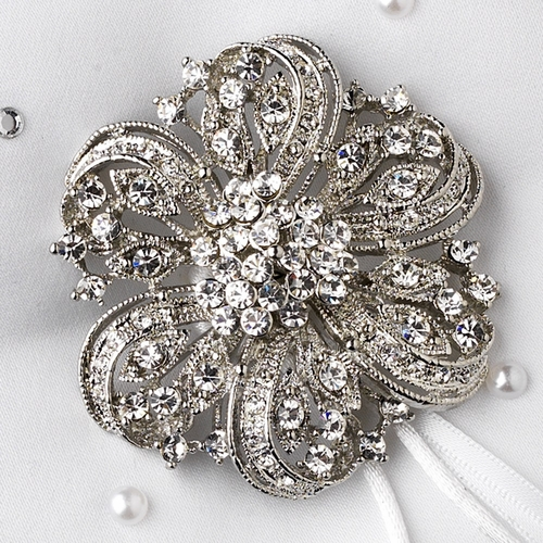 Ring Pillow 92 with Silver Clear Floral Ribbon Brooch 71
