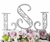Roman Crystal Monogram Wedding Cake Top