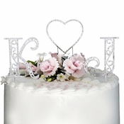 Roman Swarovski Crystal Initials & Heart Wedding Cake Topper Set