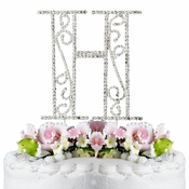 Romanesque ~ Swarovski Crystal Wedding Cake Topper ~ Letter H