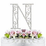 Romanesque ~ Swarovski Crystal Wedding Cake Topper ~ Letter N