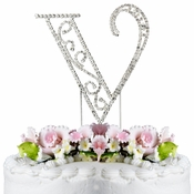 Romanesque ~ Swarovski Crystal Wedding Cake Topper ~ Letter V