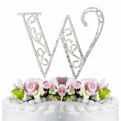 Romanesque ~ Swarovski Crystal Wedding Cake Topper ~ Letter W