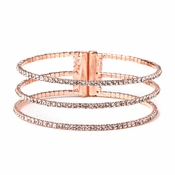 Rose Gold 3 Row Rhinestone Bridal Wedding Bracelet 306 ** Discontinued**