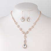 Rose Gold Clear Crystal Rhinestone Dangle Bridal Wedding Jewelry Set 298