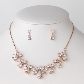 Rose Gold Clear CZ Crystal Bridal Wedding Jewelry Set 71746