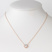 Rose Gold Clear CZ Crystal Pendent Bridal Wedding Necklace 82073