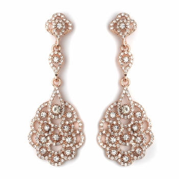 Rose Gold Clear Rhinestone Chandelier Bridal Wedding Earrings 8685