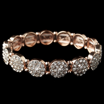 Rose Gold Clear Rhinestone Circle Stretch Bracelet