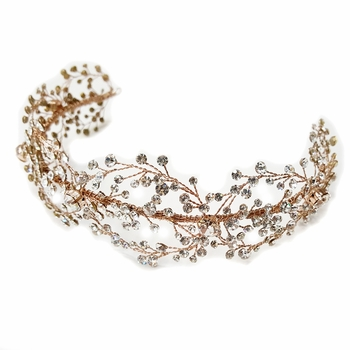 Rose Gold Clear Rhinestone Hair Vine Headband 6352