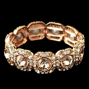 Rose Gold Clear Rhinestone Stretch Bracelet 291