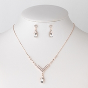Rose Gold Clear Rhinestone Teardrop Bridal Wedding Jewelry Set 344