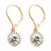 Rose Gold Clear Round CZ Crystal Drop Bridal Wedding Earrings 82076