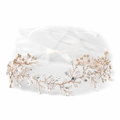 Rose Gold Clear Swarovski Crystal Bead Vine Bridal Wedding Ivory Organza Ribbon Accent Headband 10001