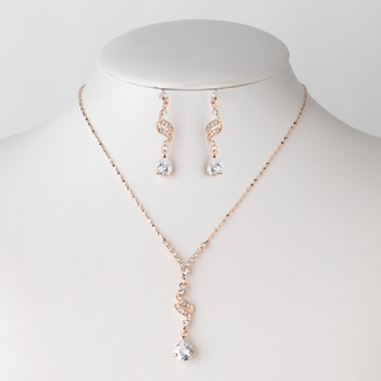Rose Gold Clear Teardrop CZ Crystal Dangle Bridal Wedding Jewelry Set 304