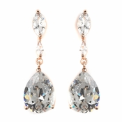 Rose Gold CZ Crystal Marquise & Teardrop Bridal Wedding Earrings 40261