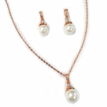 Rose Gold Ivory Pearl & CZ Pendant Jewelry Set 8602