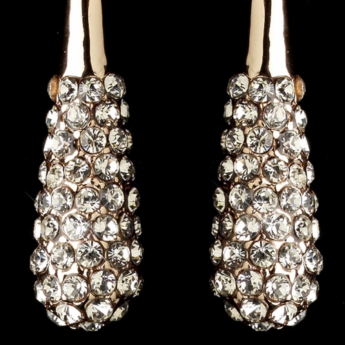 Rose Gold Pave CZ Crystal Teardrop Hook Dangle Earrings 82062