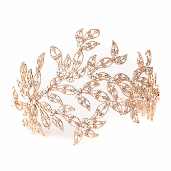 Rose Gold Rhinestone Leaf Bridal Wedding Headband 1589