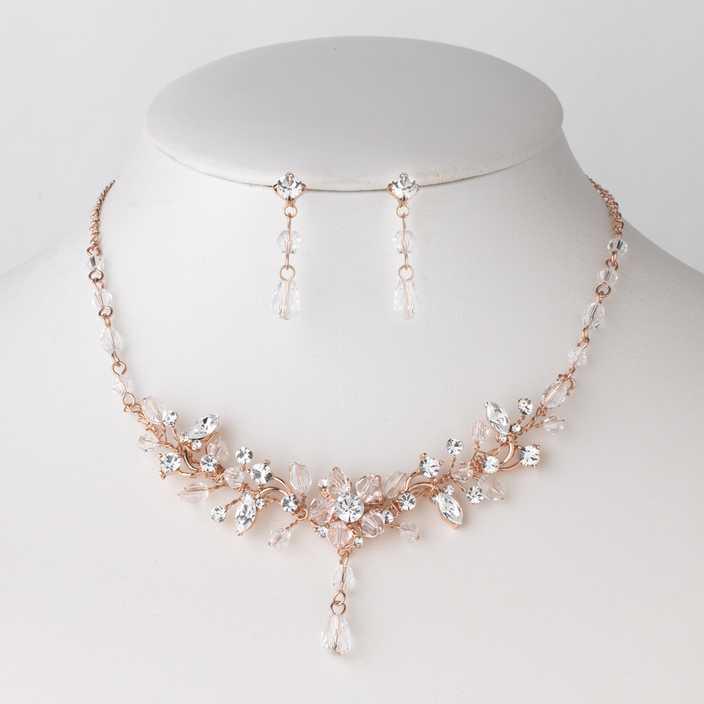 Rose Gold Swarovski Crystal Bridal Wedding Jewelry Set 8003