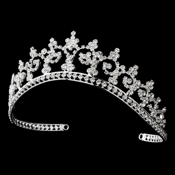 Royal Rhinestone Crown Tiara in Radiant Silver 167