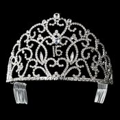 Royal Sweet 15 or 16 Silver Headpiece Covered in Clear Rhinestones 251