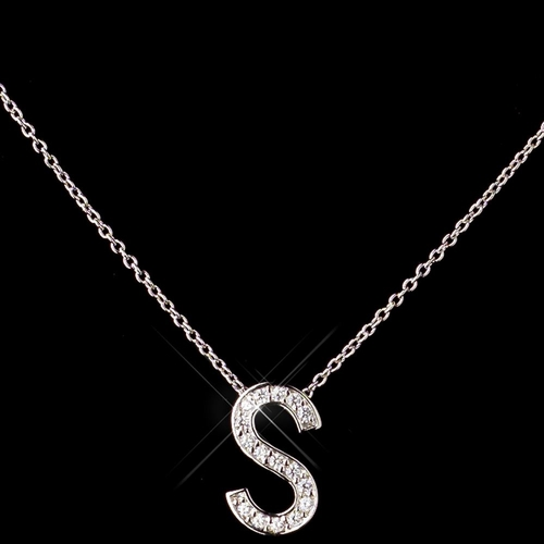 """""""S"""" Sterling Silver CZ Crystal Initial Necklace 4407"""