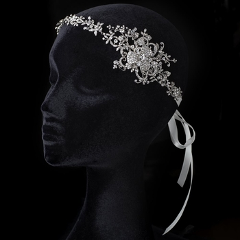 Satin Ivory Ribbon Flower Side Accented Headband with Crystals & Rhinestones 3325