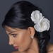 Satin & Organza Flower w/ Pearl & Rhinestone Center Hair Clip 105