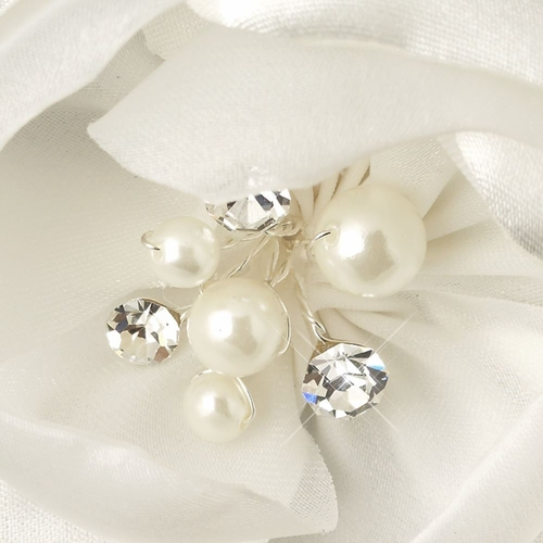 Satin & Organza Flower w/ Pearl & Rhinestone Center Hair Clip 106