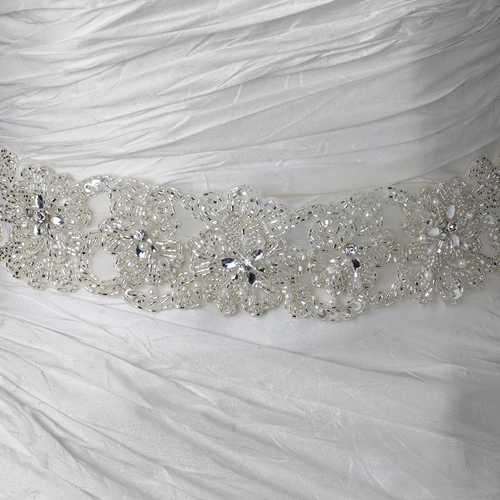 Sheer Diamond White Organza Rhinestone & Pearl Accent Beaded Bridal Belt 280