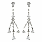 Shimmering Silver Cubic Zirconia Chandelier Earrings 3809
