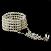 Silver 5 Row Ivory Pearl Great Gatsby 1920s Inspired Stretch Bracelet with Ring