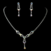 Silver AB & Clear Necklace & Earrings Jewelry Set 7581