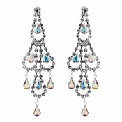 Silver AB & Clear Teardrop Rhinestone Chandelier Earrings 0106